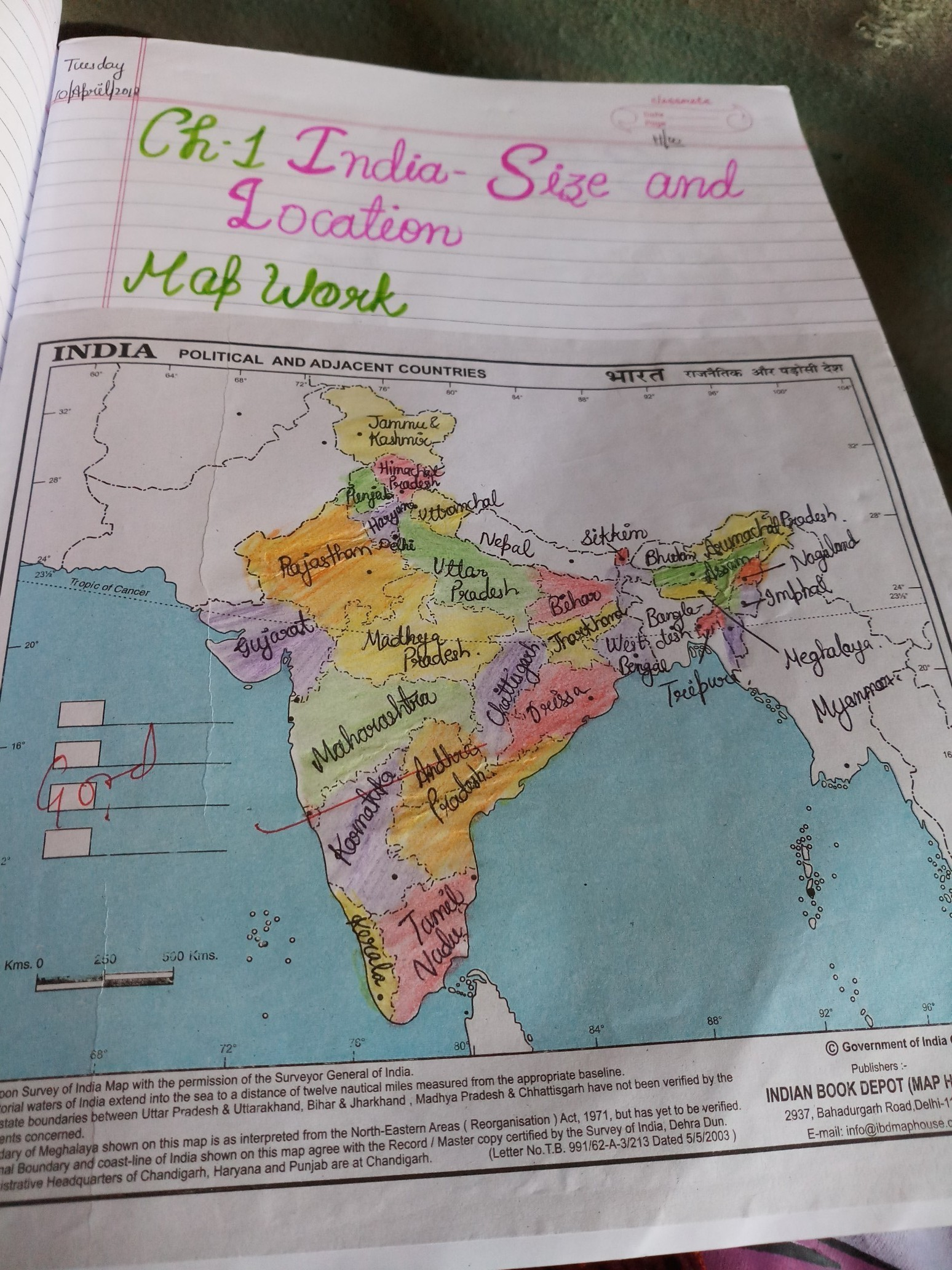on draw map of india