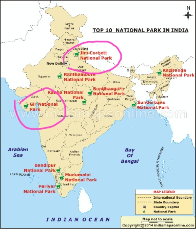 corbett national park map On A Physical Map Of India Show Jim Corbett National Park And Gir corbett national park map