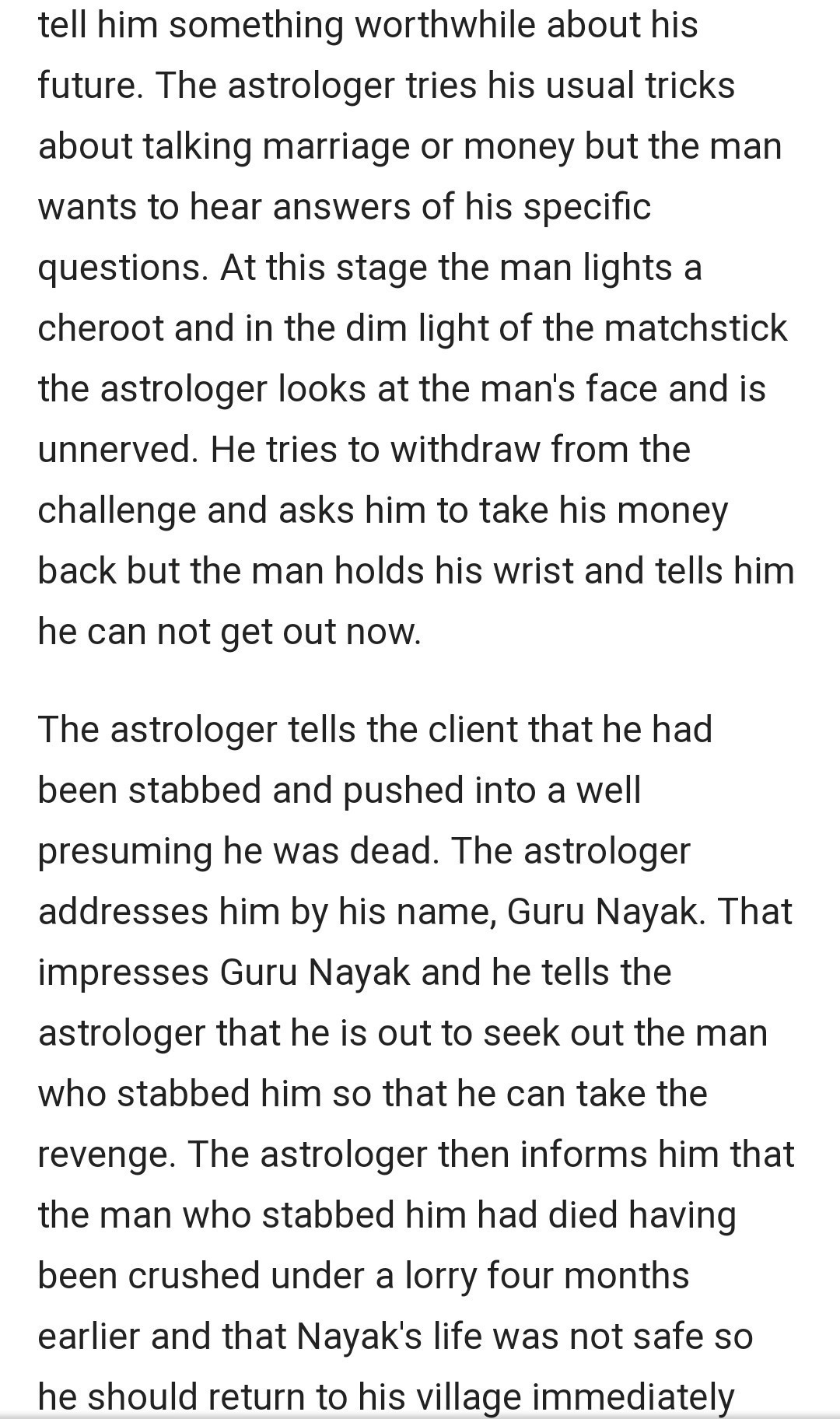 climax of an astrologers day by rk narayan