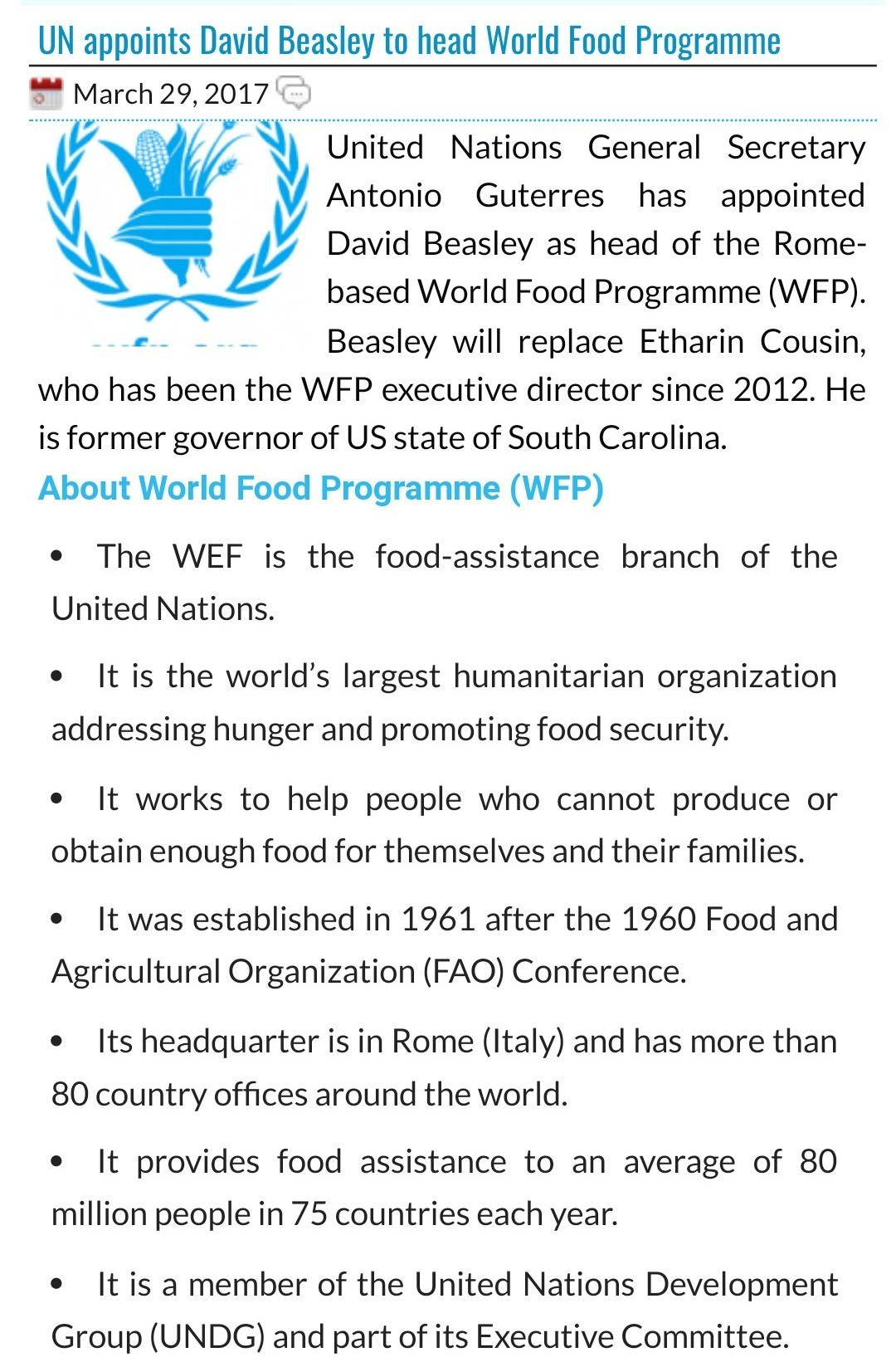 Current affairs of united nations organisation - Brainly in