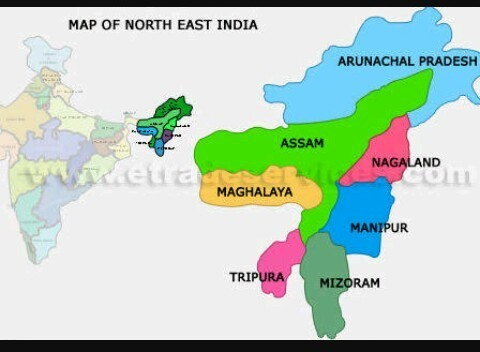Seven Sisters Map Draw the map of north east india and mention 7 sisters   Brainly.in