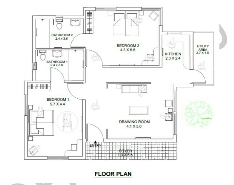 Given That 1 5 Cm On The Floor Plan Is Equivalent To 3 M On The Actual Dimension Then The Scale Of Brainly In