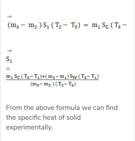 explain the procedure of finding specific heat of solid
