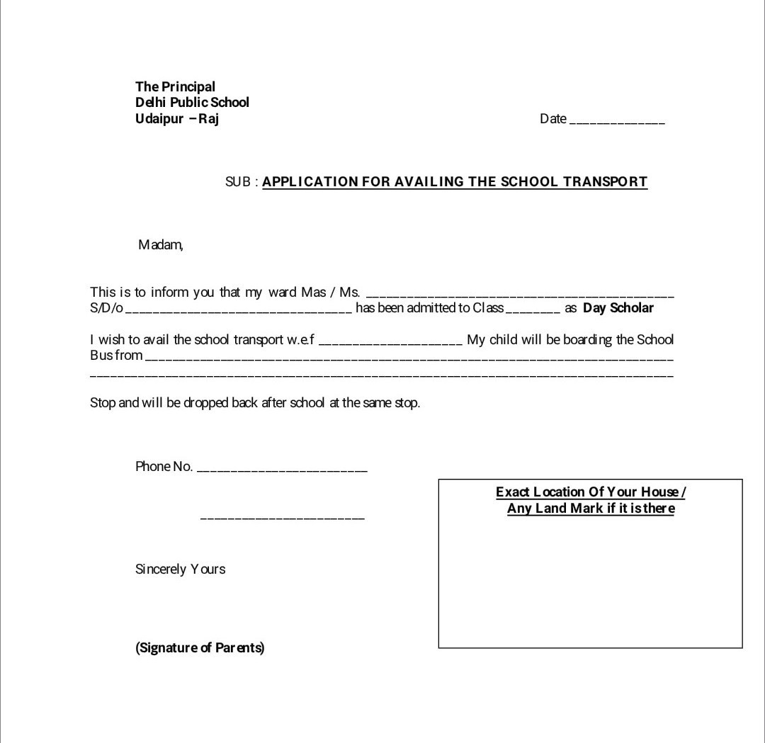 How to write application for availing school bus? - Brainly in