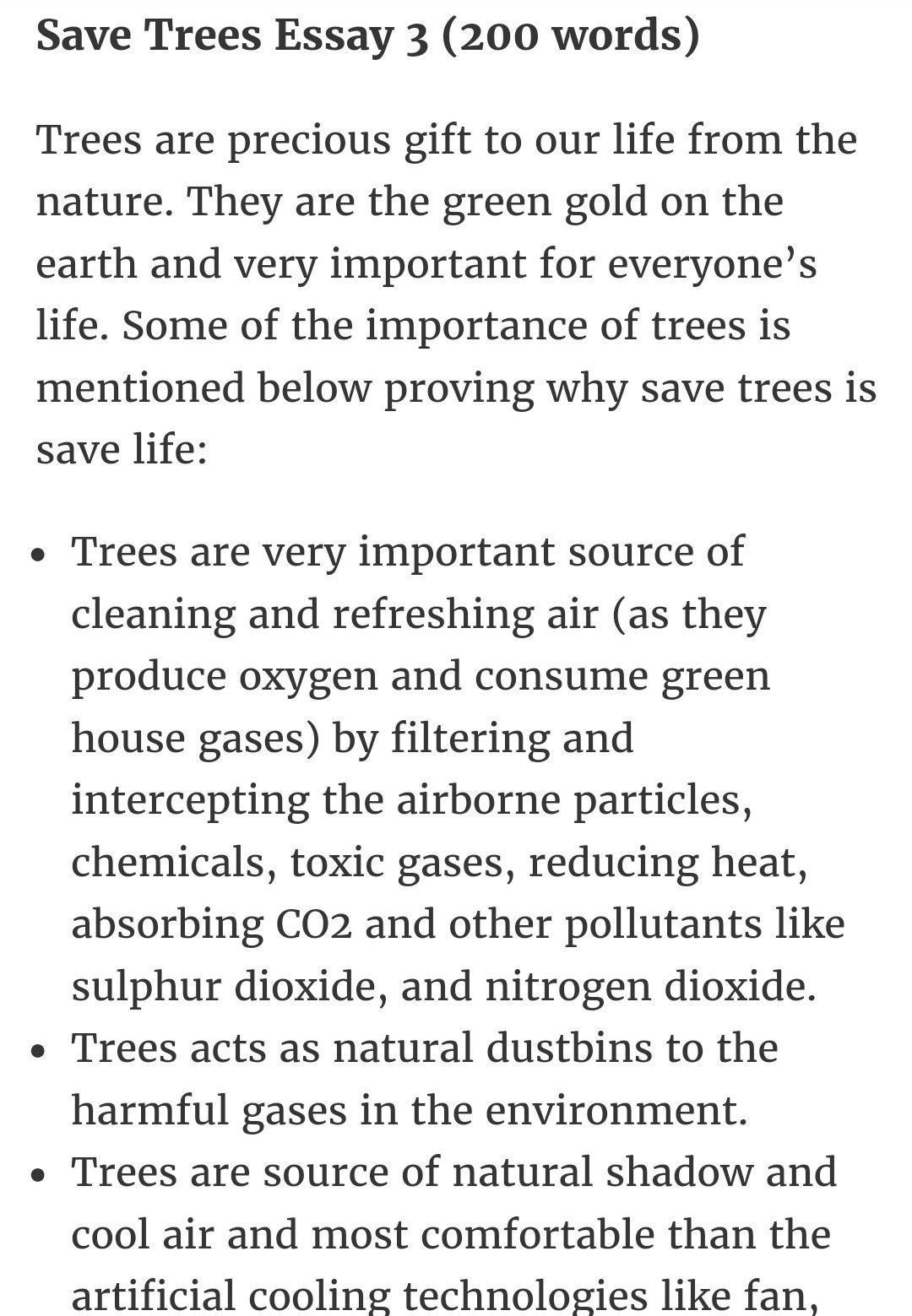 importance of trees essay 150 words