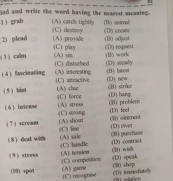 find and write the words having the nearest meaning - Brainly.in