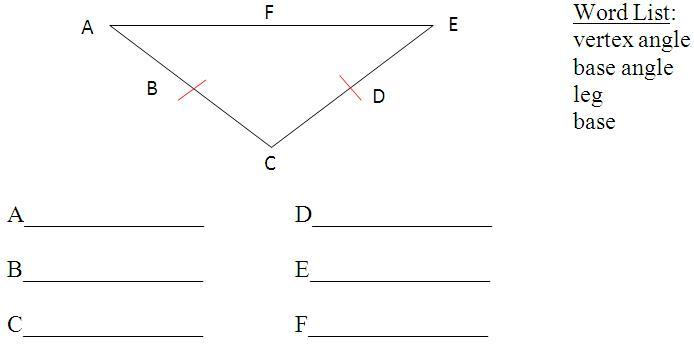 Using The Words From The Word List Name All The Parts Of The Isosceles Triangle In The Diagram Below Brainly In