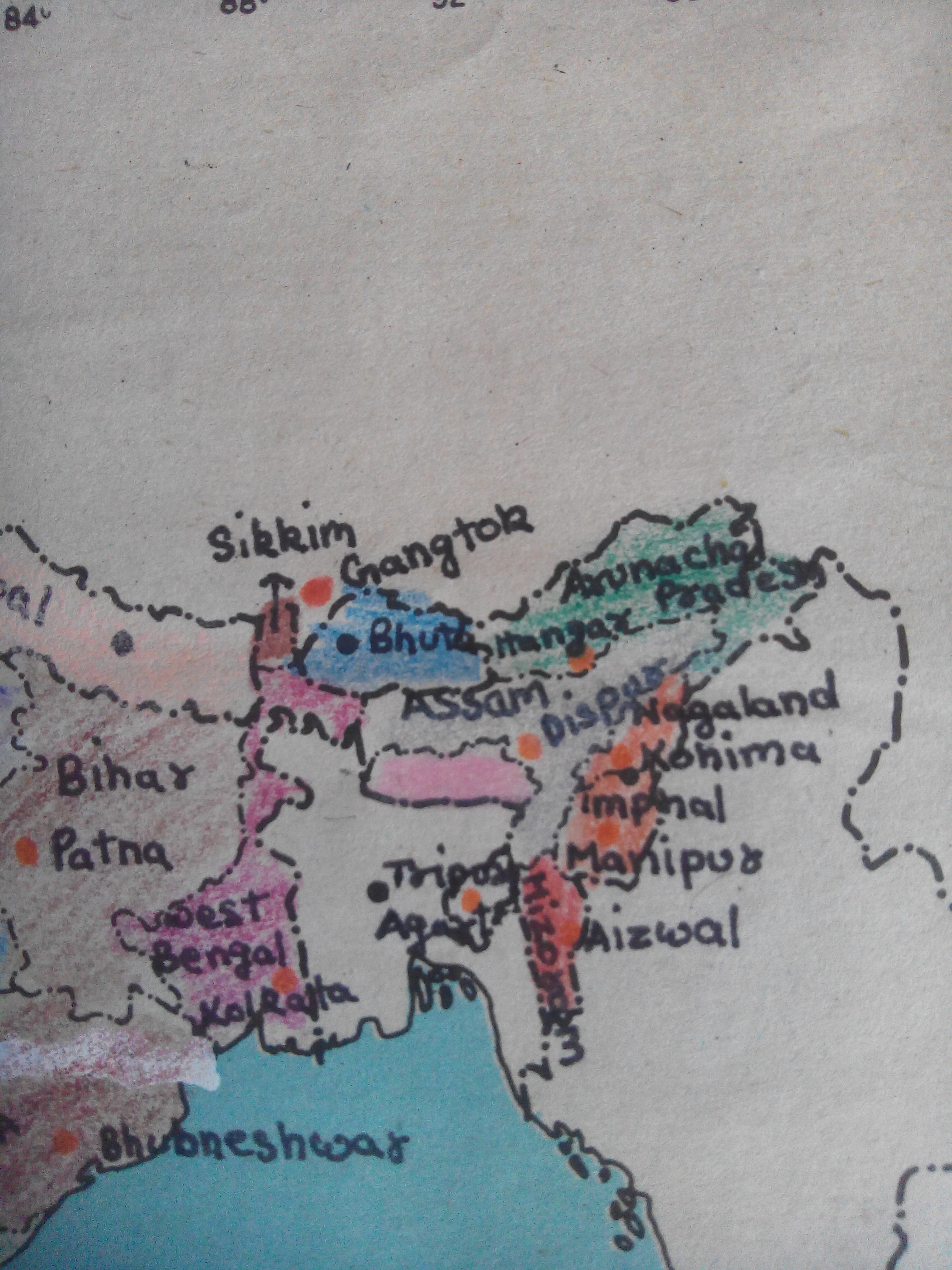 Draw the all states india the map of india and mark capitals ... Draw Map Of India on