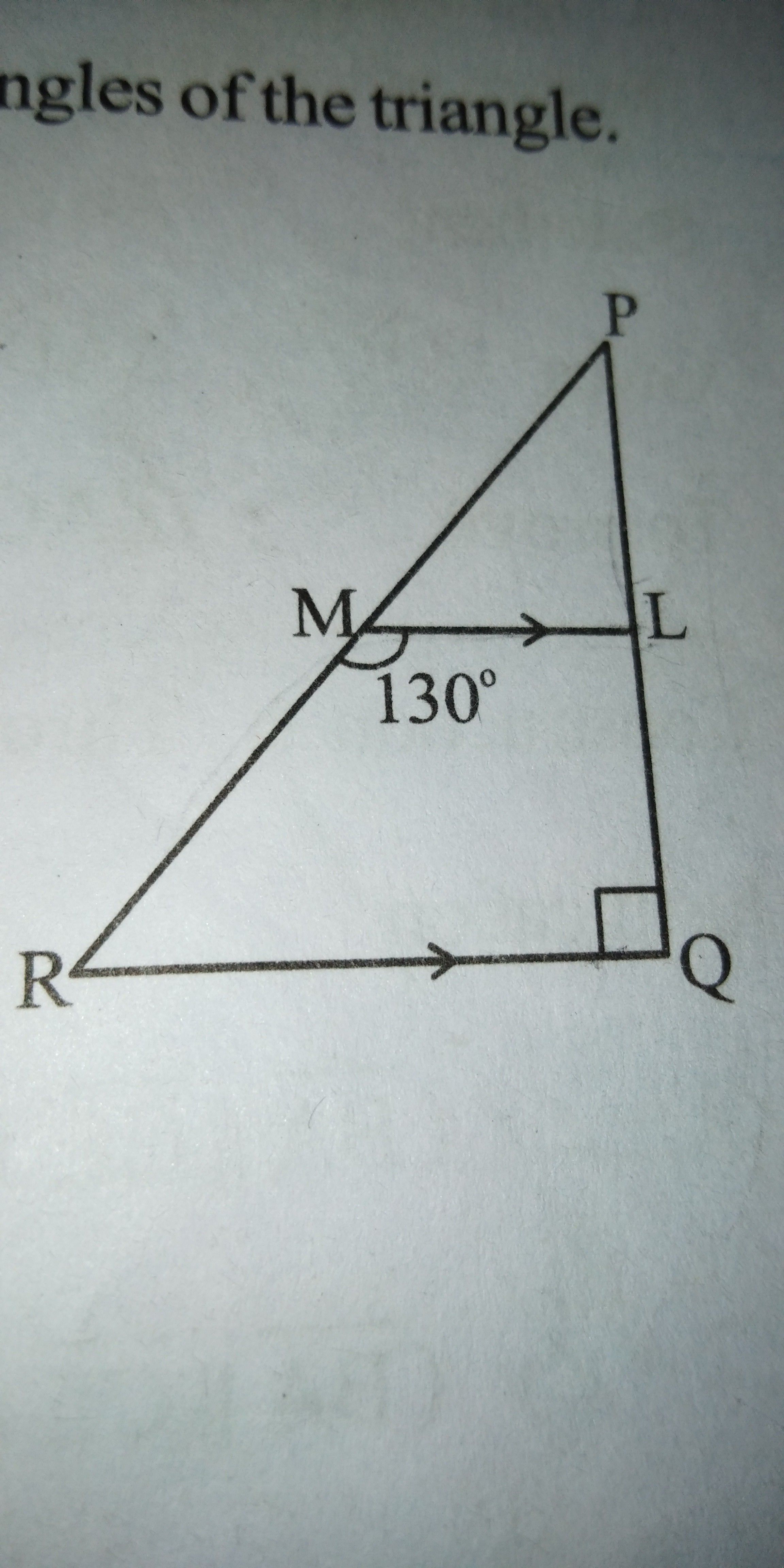 in the figure triangle PQR is a right angled at Q, ML is parallel to