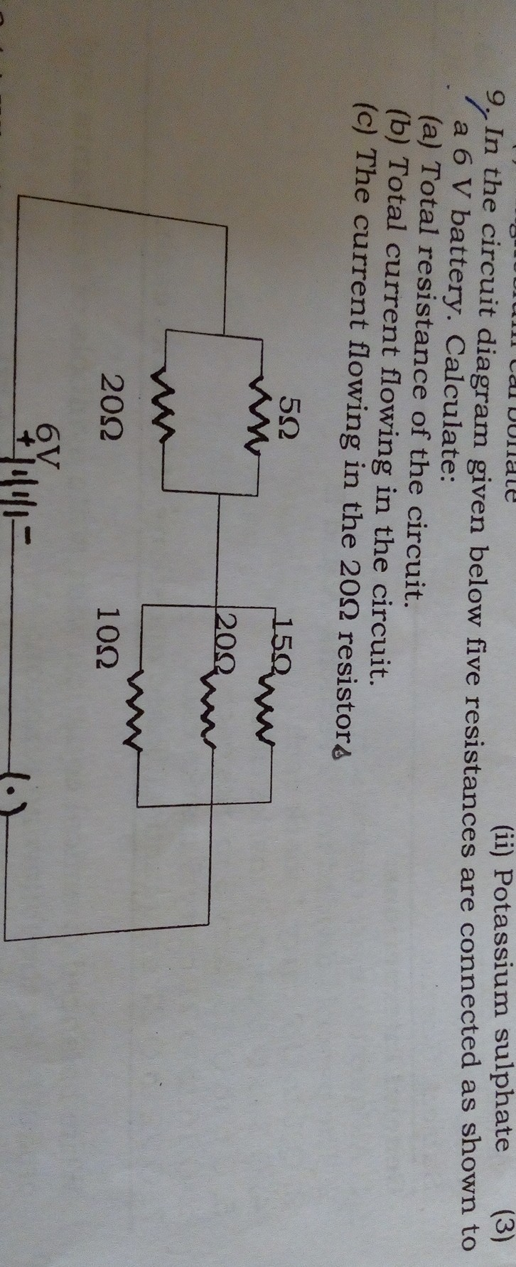 In The Circuit Diagram Given Below 5 Resistance Is Connected As