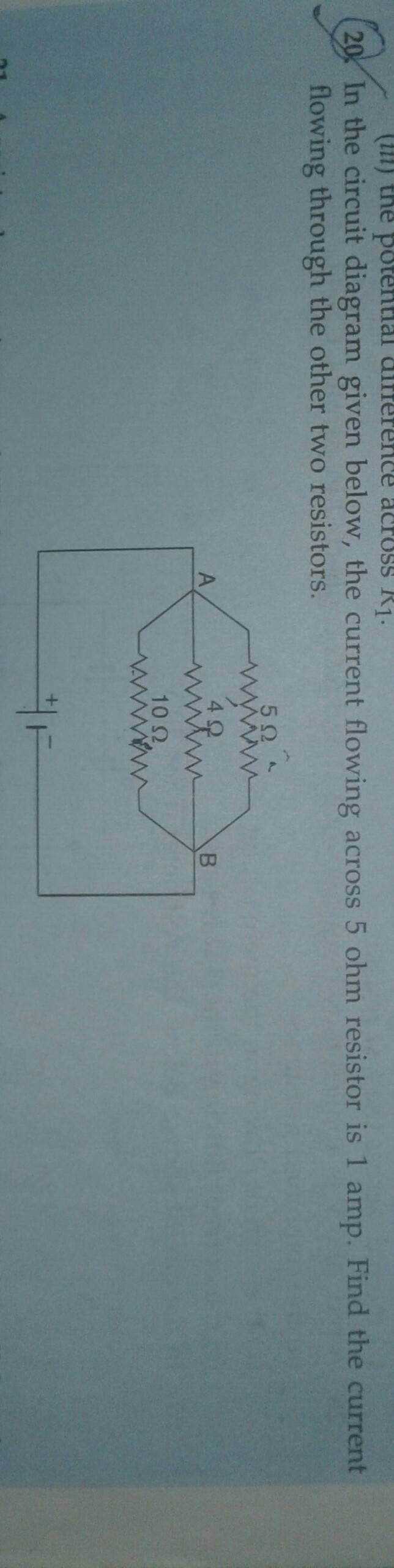 Find Thr Current Flowing Through The Other Two Resistors Brainly In