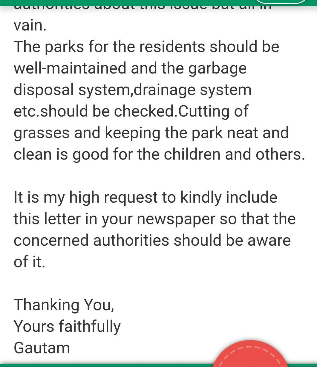 suggestion of reclaiming the locality parks - Brainly in