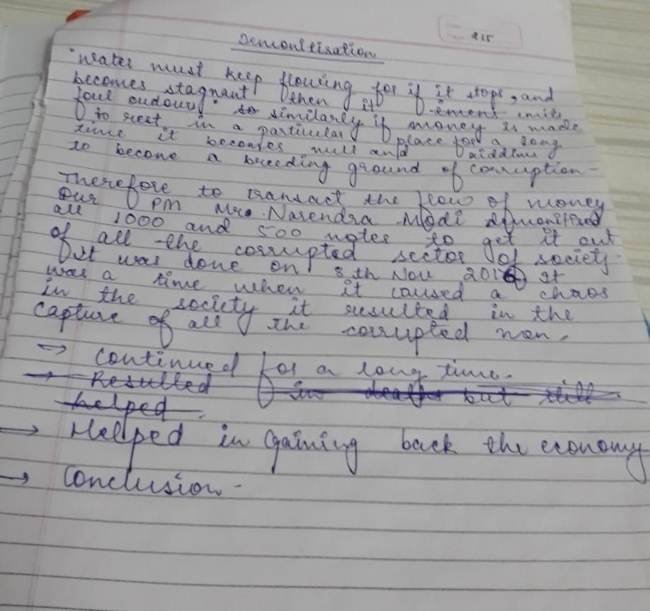 Write a short essay of 150 words on: demonetisation ...