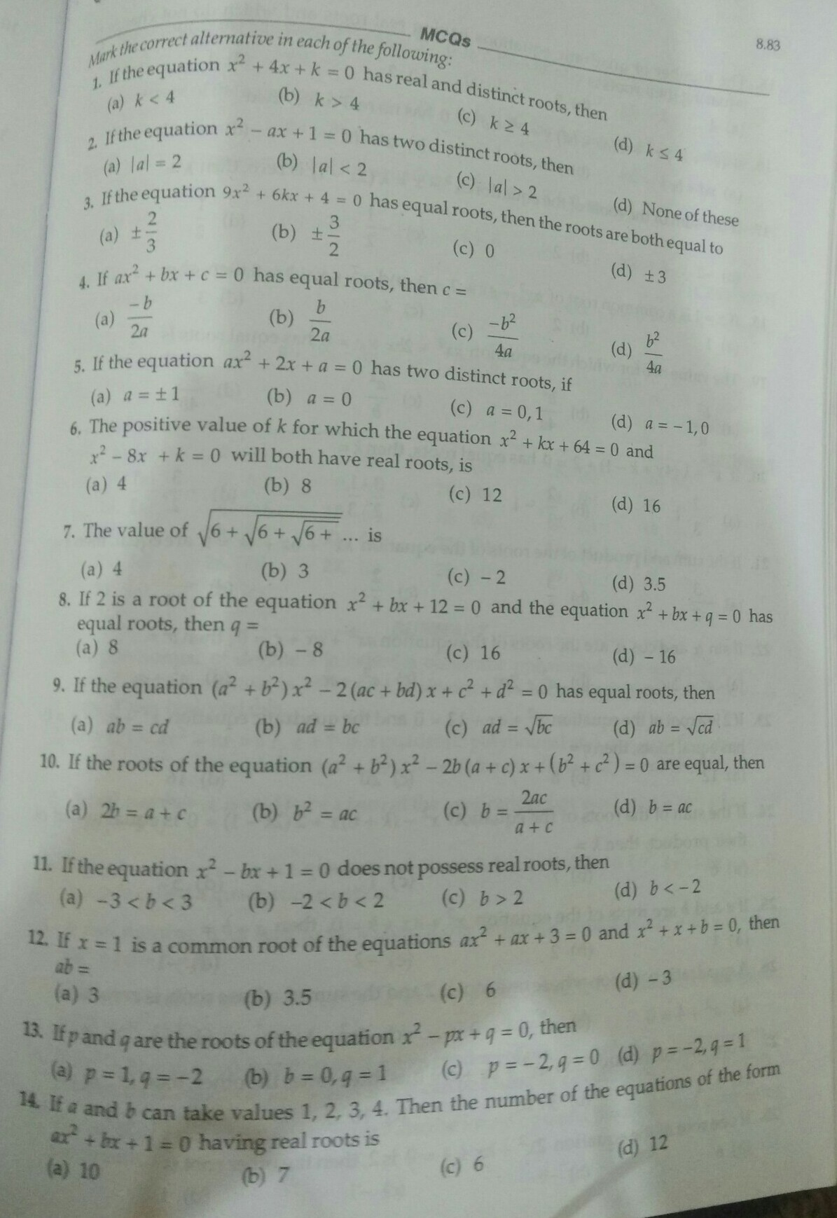 give me set of MCQ on quadratic equations for class 10th