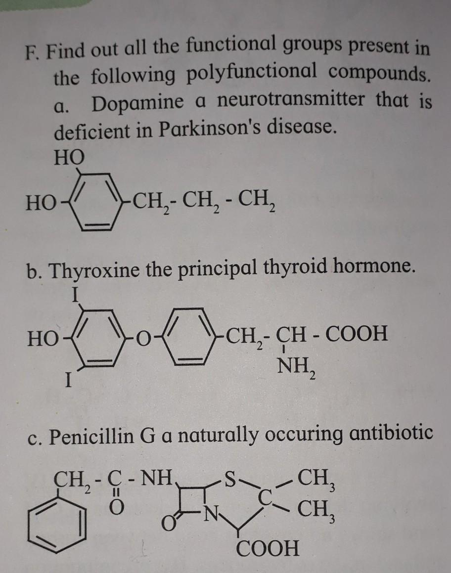 Find Out All The Functional Group Present In The Following Polyfunctional Compound A Dopamine A Brainly In