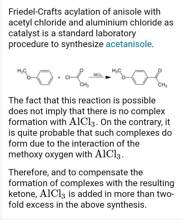 How anisole reacts with acetly chloride in the presence of Anhydrous