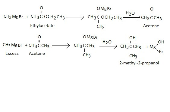 ethyl acetate reacts with CH3 Mg Br to form - Brainly in