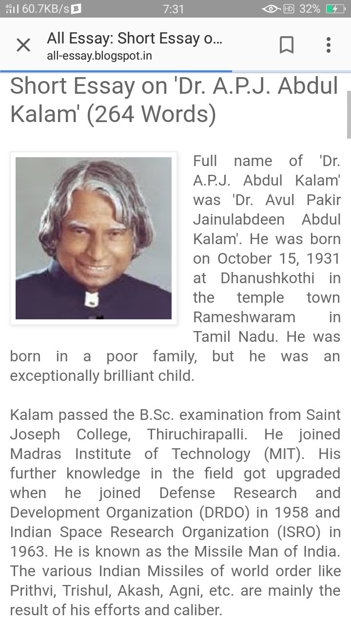 Write about apj abdul kalam
