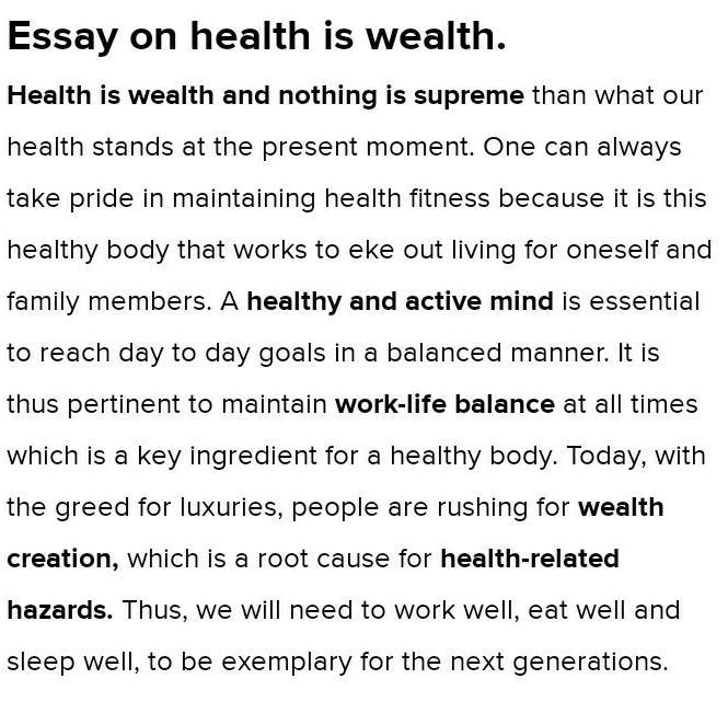 Essays about health