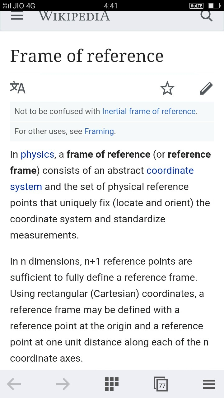 tell me about frame of reference experimently - Brainly.in