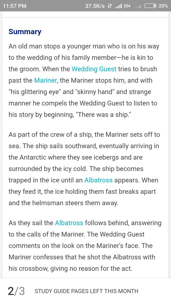 Short Summary Of Part 1 The Rime Ancient Mariner Brainly In V