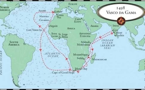 On the outline map of world show the sea route discovered by vasco download jpg gumiabroncs Images