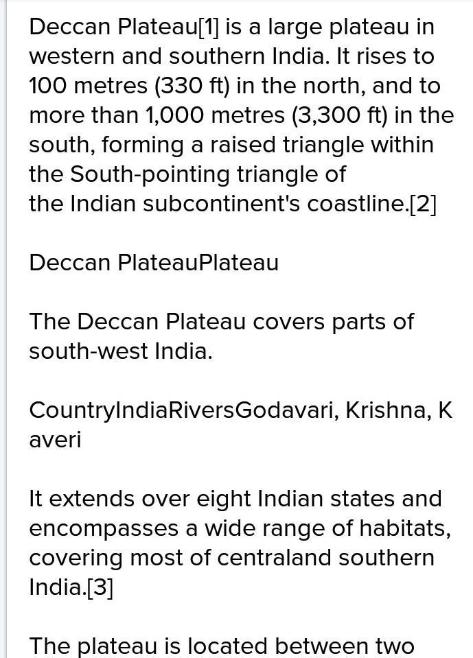 Explain the extent of Deccan plateau - Brainly in