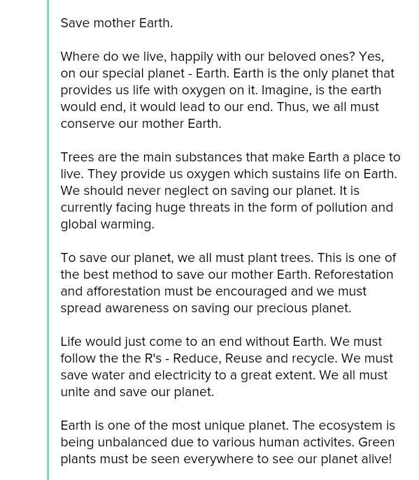 Save the earth essay