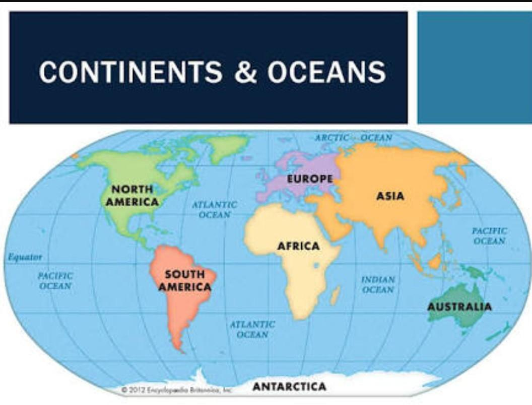 Hi..World Map with continents, lines of latitude and ...