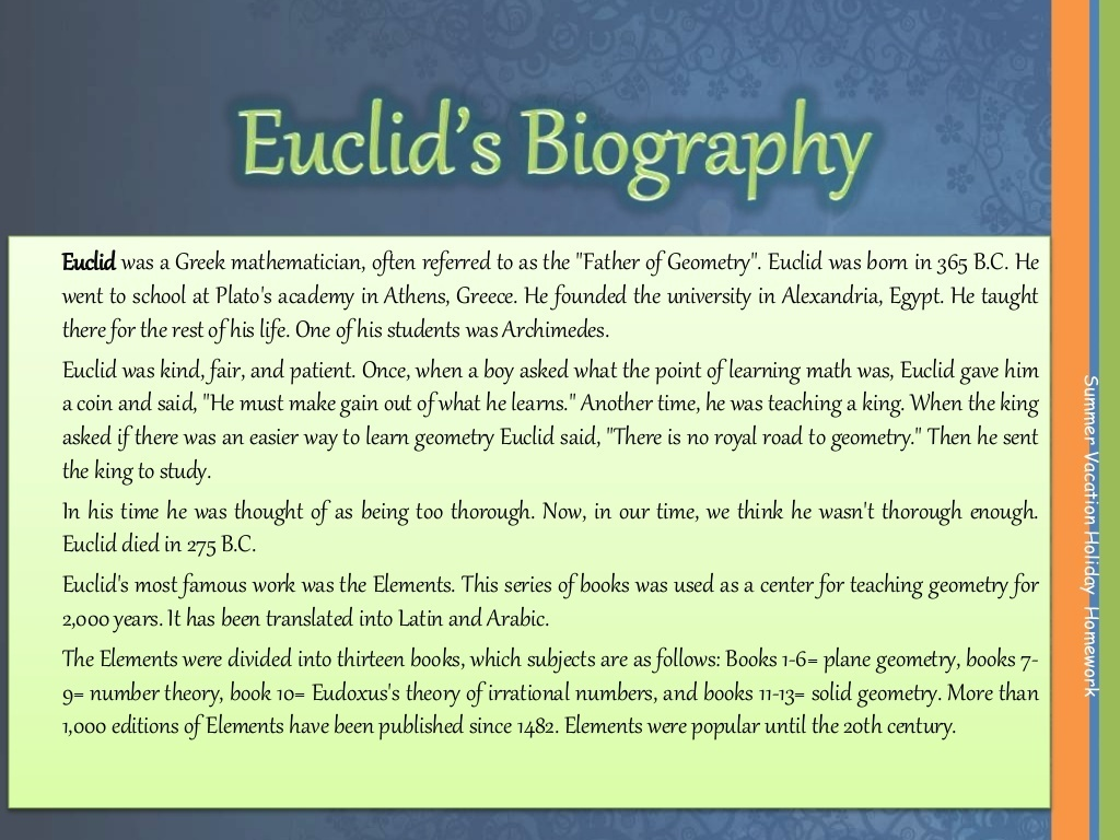 Biography of euclid only in 50 -100 words - Brainly in
