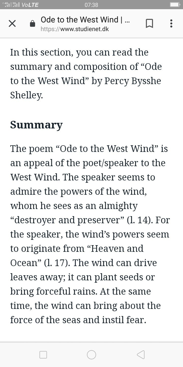 ode to the west wind summary