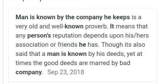 essay on a man is judged by the company he keeps