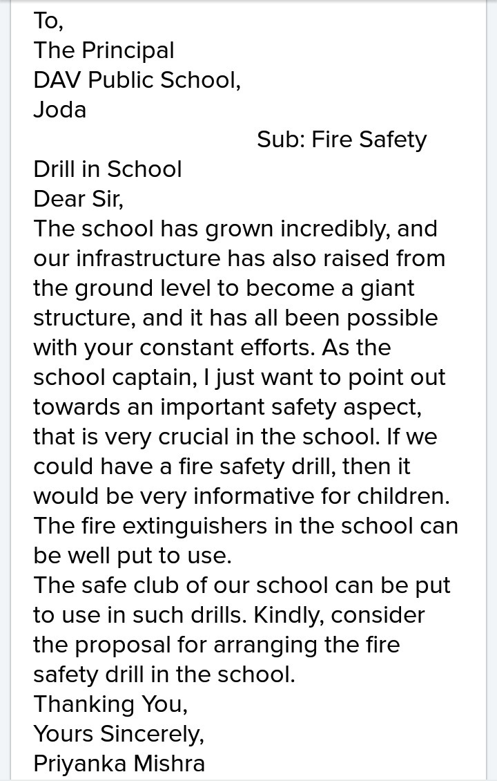 Write the letter te the principal for arranging fire safety