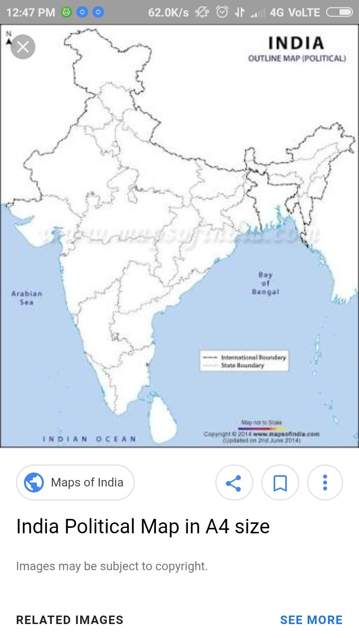 Printable political map of india outlines - Brainly.in
