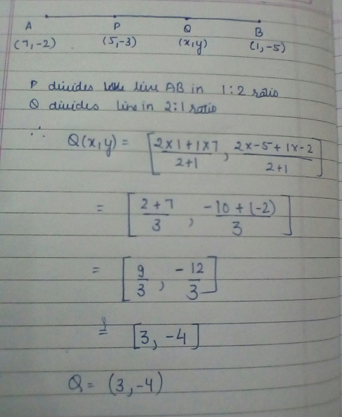 Point P(5,-3) Is One Of The Point Of Trisection Of The