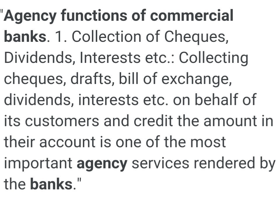 agency functions of commercial banks