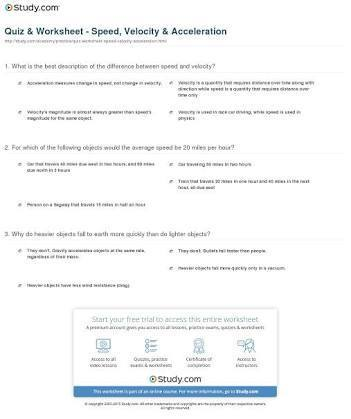 Speed velocity and acceleration problems worksheet answers - Brainly.in