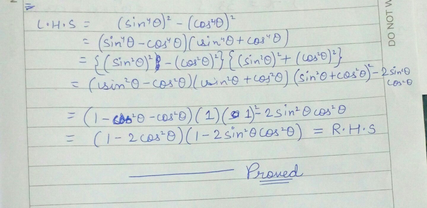 Sin8 Theta Cos8 Theta Sin2 Theta Cos2 Theta 1 2sin2 Theta Cos2 Theta Prove The Above Brainly In