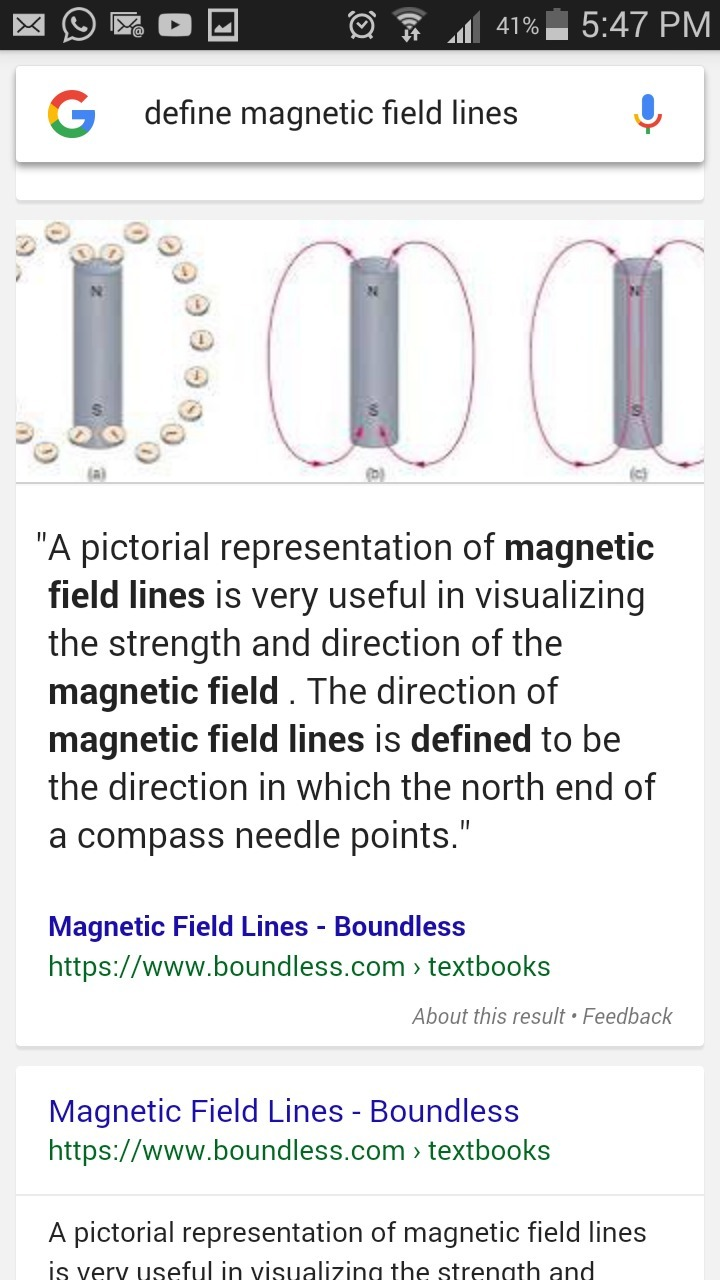 define magnetic field lines - brainly.in