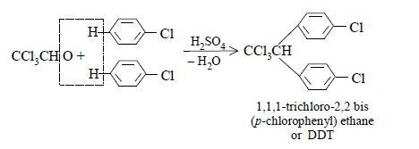 Chlorobenzene is treated with chloral