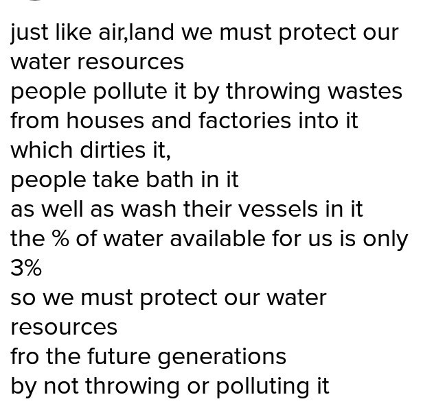 few lines on save water